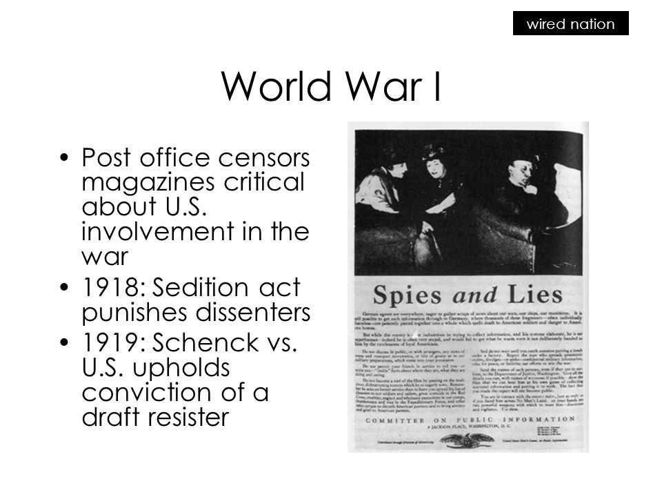 wired nation World War I Post office censors magazines critical about U.S.