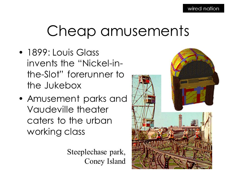 wired nation Cheap amusements 1899: Louis Glass invents the Nickel-in- the-Slot forerunner to the Jukebox Amusement parks and Vaudeville theater caters to the urban working class Steeplechase park, Coney Island