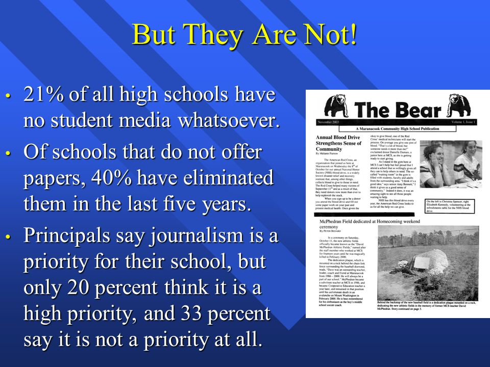 But They Are Not. 21% of all high schools have no student media whatsoever.