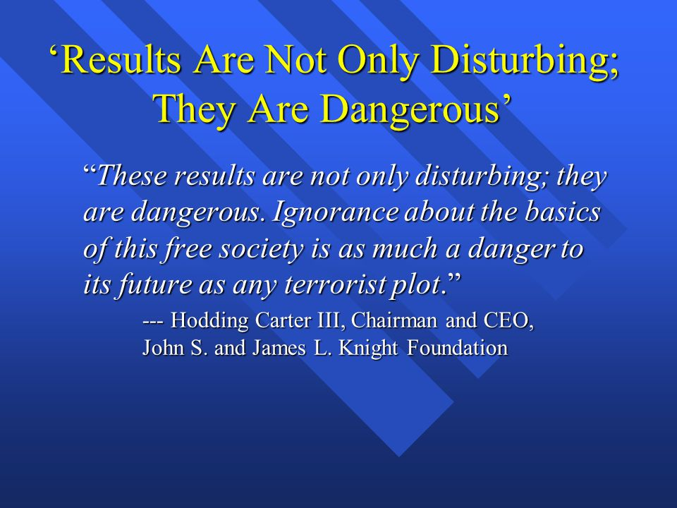 'Results Are Not Only Disturbing; They Are Dangerous' These results are not only disturbing; they are dangerous.