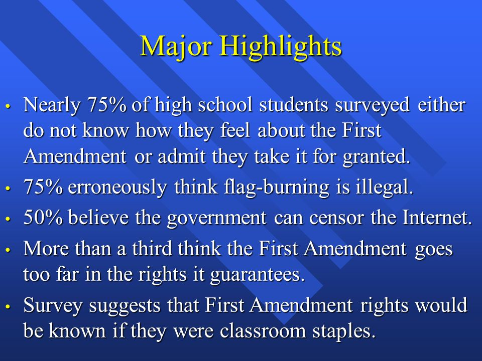Major Highlights Nearly 75% of high school students surveyed either do not know how they feel about the First Amendment or admit they take it for granted.