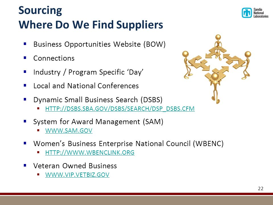Sourcing Where Do We Find Suppliers  Business Opportunities Website (BOW)  Connections  Industry / Program Specific 'Day'  Local and National Conferences  Dynamic Small Business Search (DSBS)  HTTP://DSBS.SBA.GOV/DSBS/SEARCH/DSP_DSBS.CFM HTTP://DSBS.SBA.GOV/DSBS/SEARCH/DSP_DSBS.CFM  System for Award Management (SAM)  WWW.SAM.GOV WWW.SAM.GOV  Women's Business Enterprise National Council (WBENC)  HTTP://WWW.WBENCLINK.ORG HTTP://WWW.WBENCLINK.ORG  Veteran Owned Business  WWW.VIP.VETBIZ.GOV WWW.VIP.VETBIZ.GOV 22