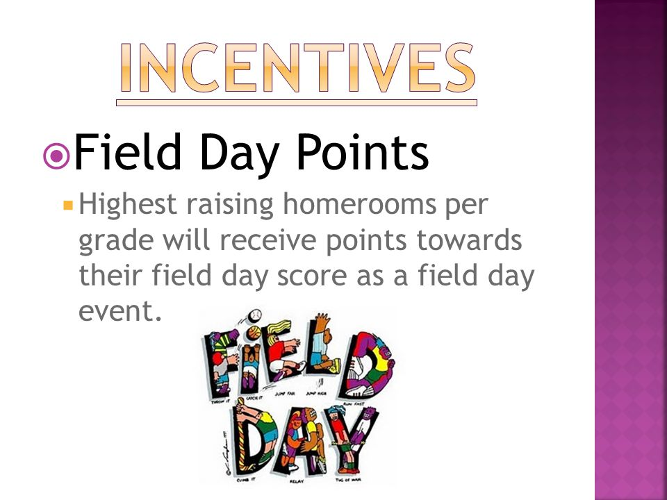  Field Day Points  Highest raising homerooms per grade will receive points towards their field day score as a field day event.