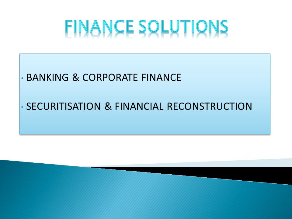 BANKING & CORPORATE FINANCE SECURITISATION & FINANCIAL RECONSTRUCTION BANKING & CORPORATE FINANCE SECURITISATION & FINANCIAL RECONSTRUCTION
