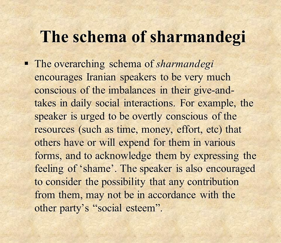 The schema of sharmandegi  The overarching schema of sharmandegi encourages Iranian speakers to be very much conscious of the imbalances in their give-and- takes in daily social interactions.