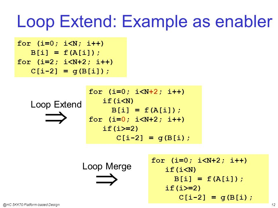@HC 5KK70 Platform-based Design12 Loop Extend: Example as enabler for (i=0; i<N; i++) B[i] = f(A[i]); for (i=2; i<N+2; i++) C[i-2] = g(B[i]);  Loop Extend for (i=0; i<N+2; i++) if(i<N) B[i] = f(A[i]); for (i=0; i<N+2; i++) if(i>=2) C[i-2] = g(B[i);  Loop Merge for (i=0; i<N+2; i++) if(i<N) B[i] = f(A[i]); if(i>=2) C[i-2] = g(B[i);