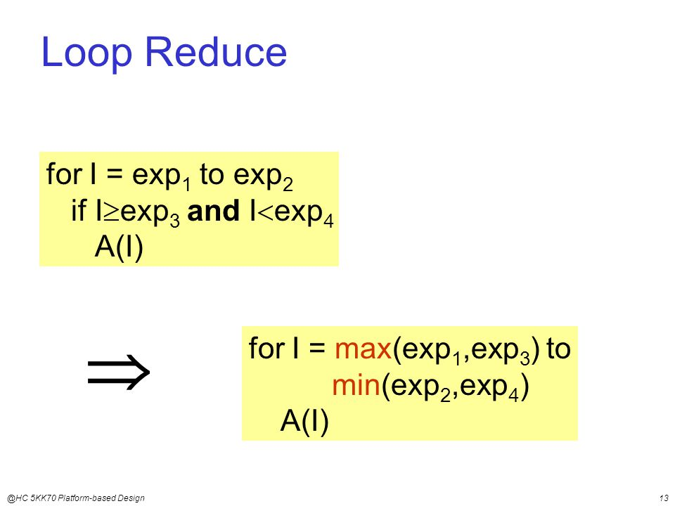 @HC 5KK70 Platform-based Design13  for I = max(exp 1,exp 3 ) to min(exp 2,exp 4 ) A(I) Loop Reduce for I = exp 1 to exp 2 if I  exp 3 and I  exp 4 A(I)