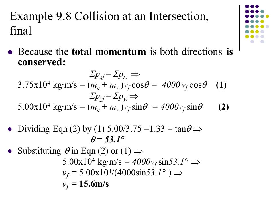 Example 9.8 Collision at an Intersection, final Because the total momentum is both directions is conserved: Σp xf = Σp xi  3.75x10 4 kg·m/s = (m c + m v )v f cos  = 4000 v f cos  (1) Σp yf = Σp yi  5.00x10 4 kg·m/s = (m c + m v )v f sin  = 4000v f sin  (2) Dividing Eqn (2) by (1) 5.00/3.75 =1.33 = tan    = 53.1° Substituting  in Eqn (2) or (1)  5.00x10 4 kg·m/s = 4000v f sin53.1°  v f = 5.00x10 4 /(4000sin53.1° )  v f = 15.6m/s