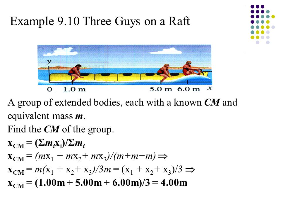 Example 9.10 Three Guys on a Raft A group of extended bodies, each with a known CM and equivalent mass m.