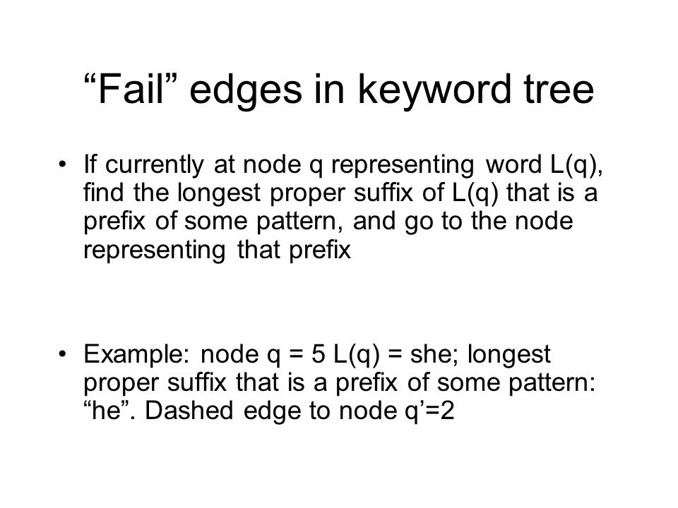 Fail edges in keyword tree If currently at node q representing word L(q), find the longest proper suffix of L(q) that is a prefix of some pattern, and go to the node representing that prefix Example: node q = 5 L(q) = she; longest proper suffix that is a prefix of some pattern: he .
