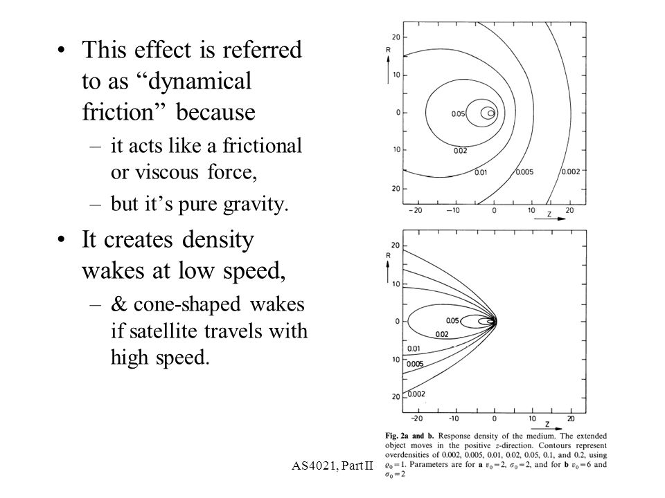 AS4021, Part II28 This effect is referred to as dynamical friction because –it acts like a frictional or viscous force, –but it's pure gravity.