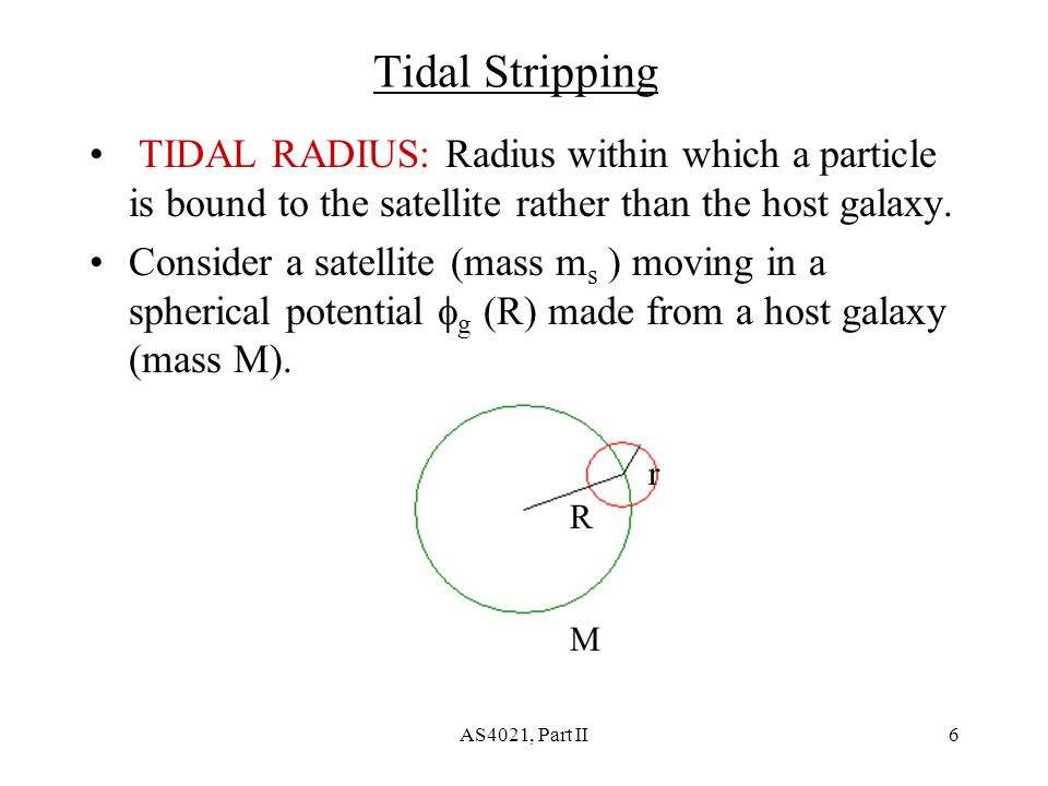 AS4021, Part II6 Tidal Stripping TIDAL RADIUS: Radius within which a particle is bound to the satellite rather than the host galaxy.