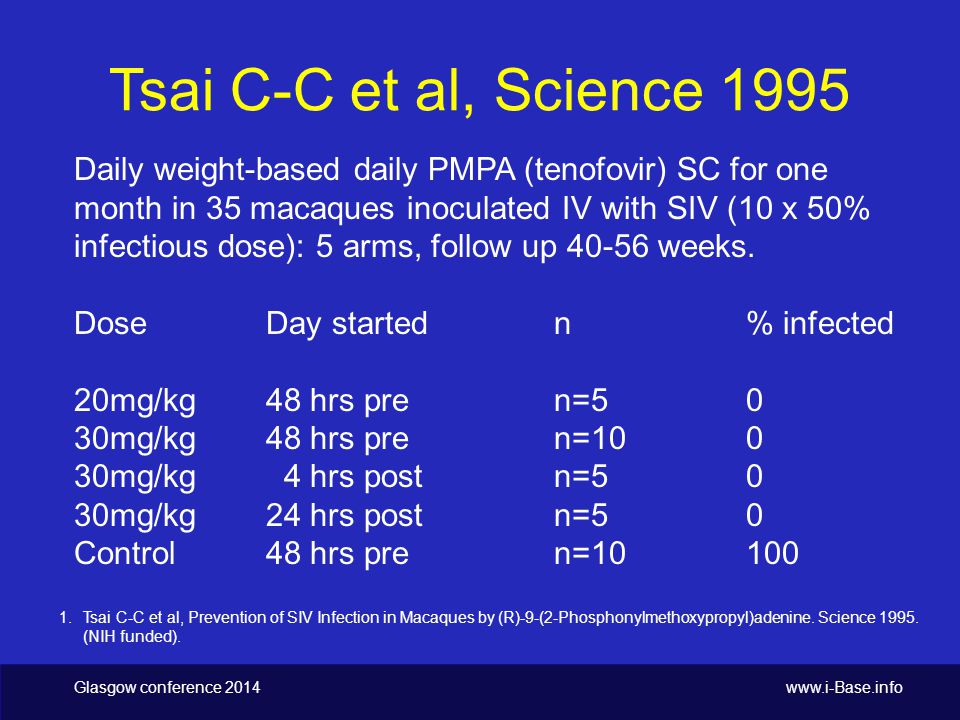 Tsai C-C et al, Science 1995 Daily weight-based daily PMPA (tenofovir) SC for one month in 35 macaques inoculated IV with SIV (10 x 50% infectious dose): 5 arms, follow up 40-56 weeks.