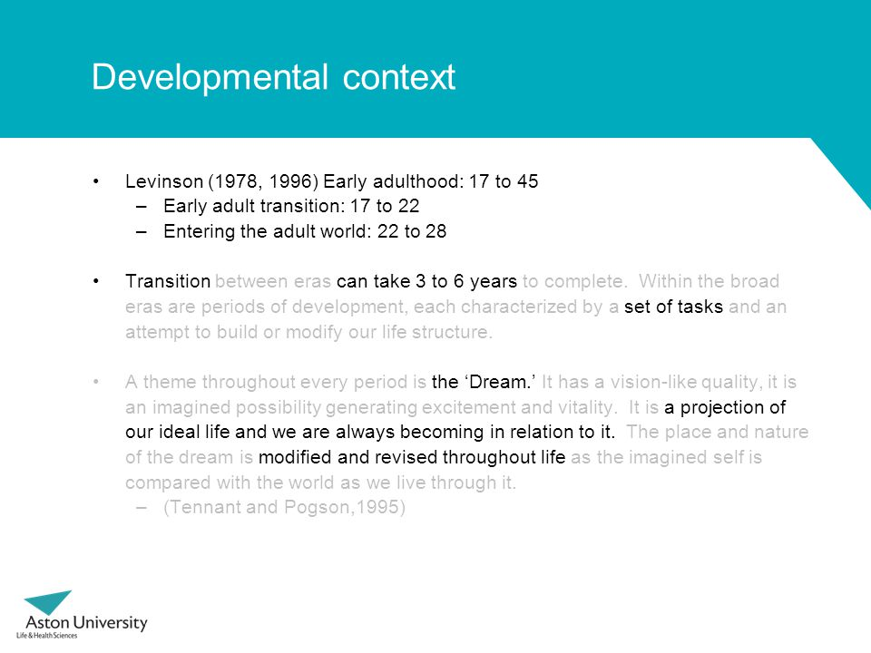 Developmental context Levinson (1978, 1996) Early adulthood: 17 to 45 –Early adult transition: 17 to 22 –Entering the adult world: 22 to 28 Transition between eras can take 3 to 6 years to complete.