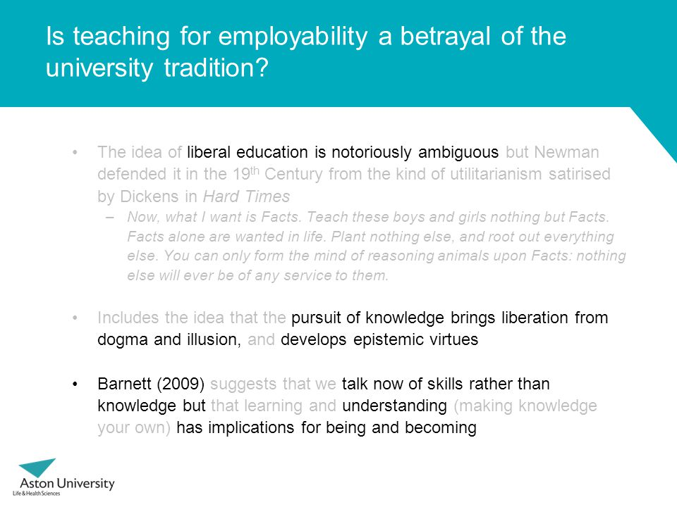 Is teaching for employability a betrayal of the university tradition.