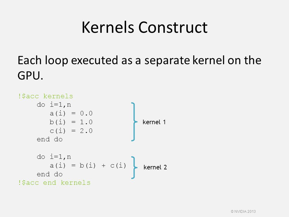Kernels Construct Each loop executed as a separate kernel on the GPU.