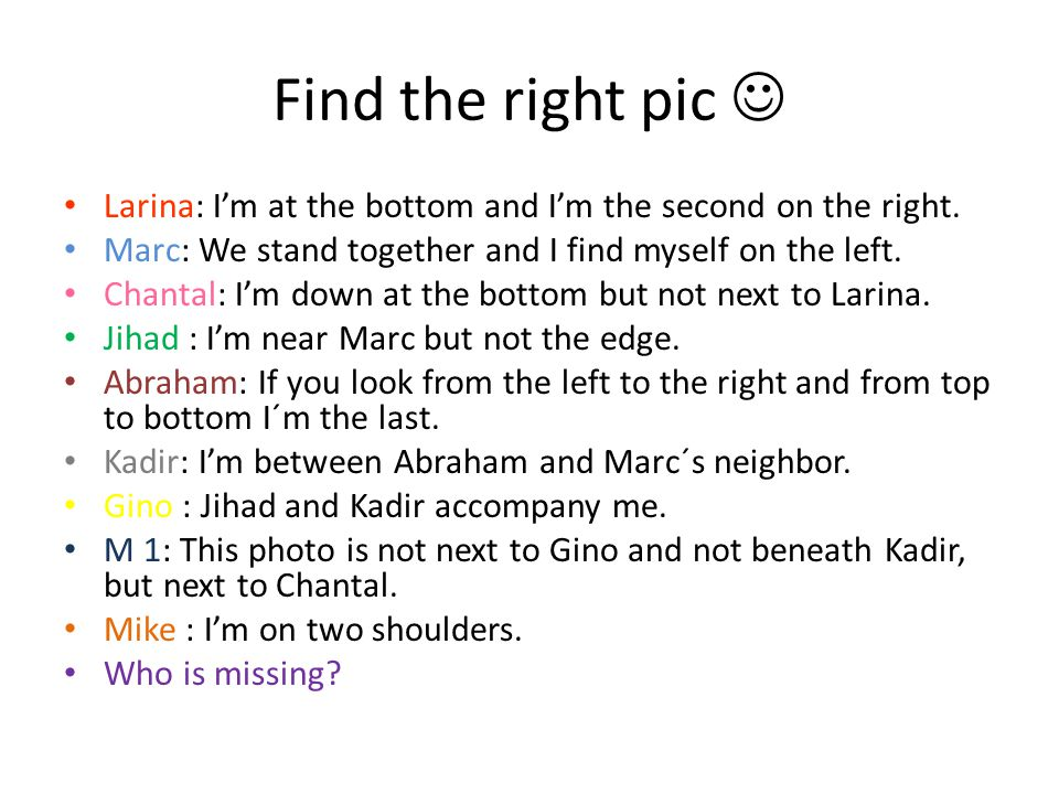 Find the right pic Larina: I'm at the bottom and I'm the second on the right.