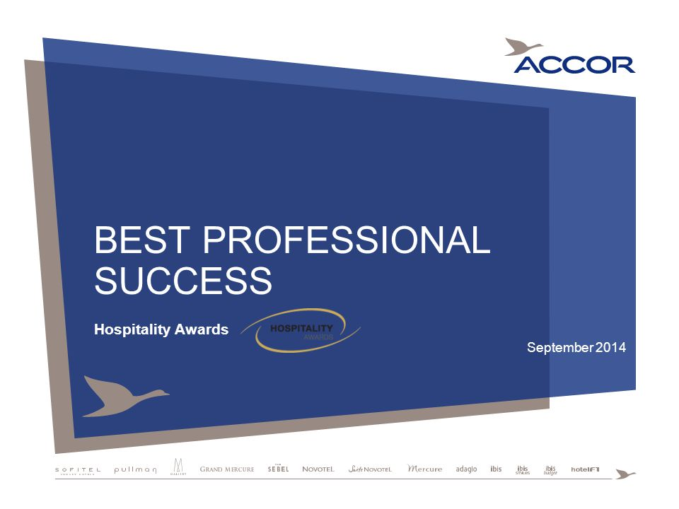 BEST PROFESSIONAL SUCCESS Hospitality Awards September 2014