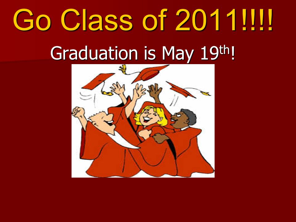 Go Class of 2011!!!! Graduation is May 19 th !