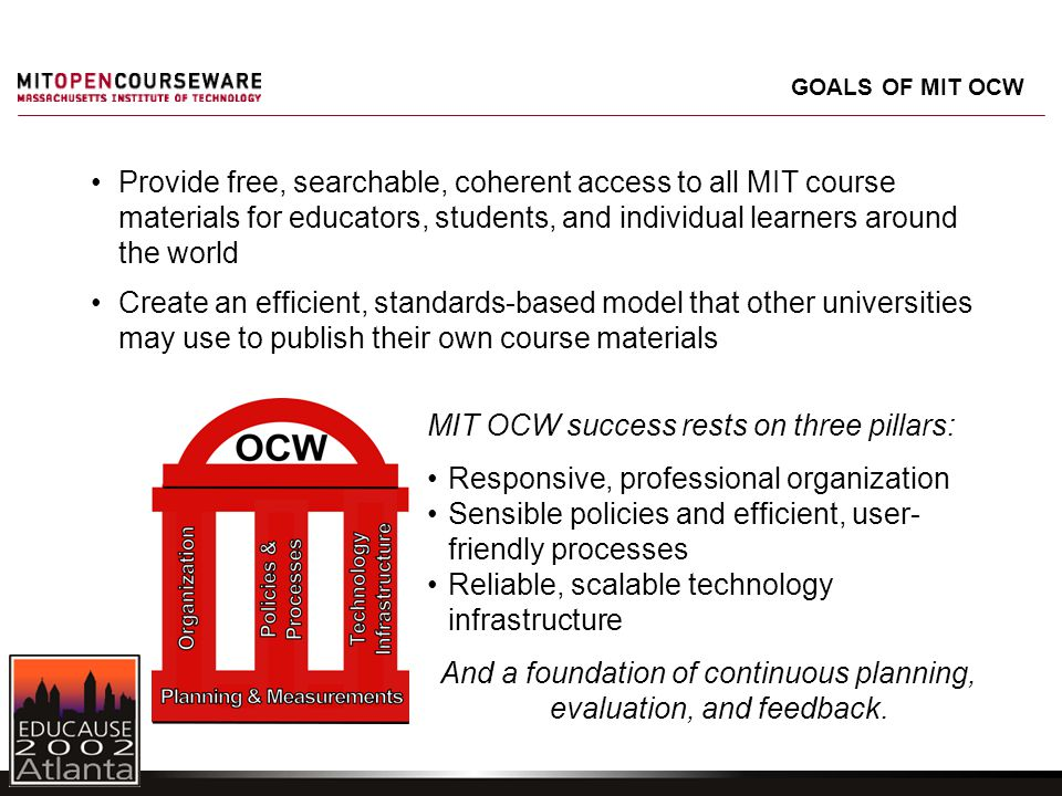 Provide free, searchable, coherent access to all MIT course materials for educators, students, and individual learners around the world Create an efficient, standards-based model that other universities may use to publish their own course materials MIT OCW success rests on three pillars: Responsive, professional organization Sensible policies and efficient, user- friendly processes Reliable, scalable technology infrastructure And a foundation of continuous planning, evaluation, and feedback.