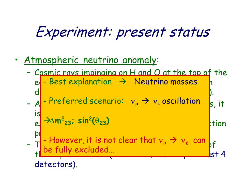 Experiment: present status Atmospheric neutrino anomaly: –Cosmic rays impinging on H and O at the top of the earth's atmosphere produce mostly pions which decay through       ;    e  e  (and c.c..