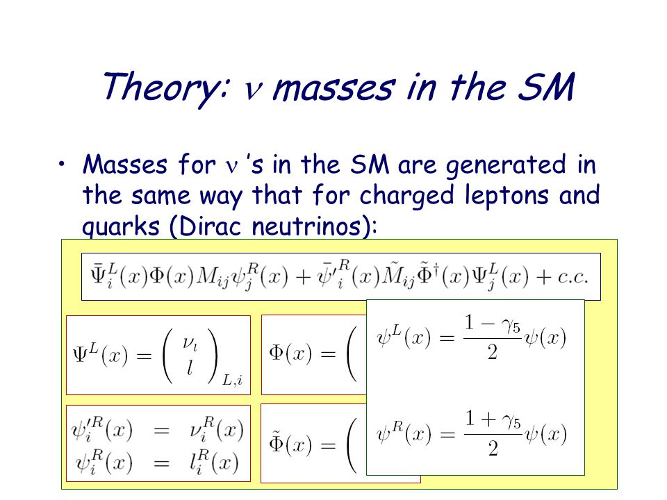 Theory: masses in the SM Masses for 's in the SM are generated in the same way that for charged leptons and quarks (Dirac neutrinos): i;j=1;2;3