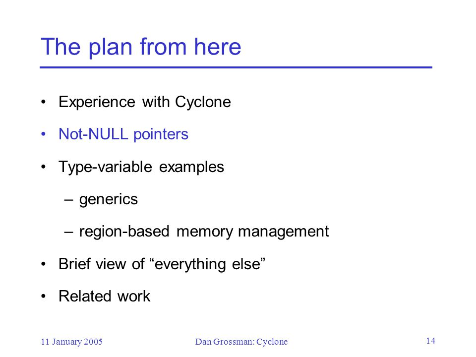 11 January 2005Dan Grossman: Cyclone 14 The plan from here Experience with Cyclone Not-NULL pointers Type-variable examples –generics –region-based memory management Brief view of everything else Related work
