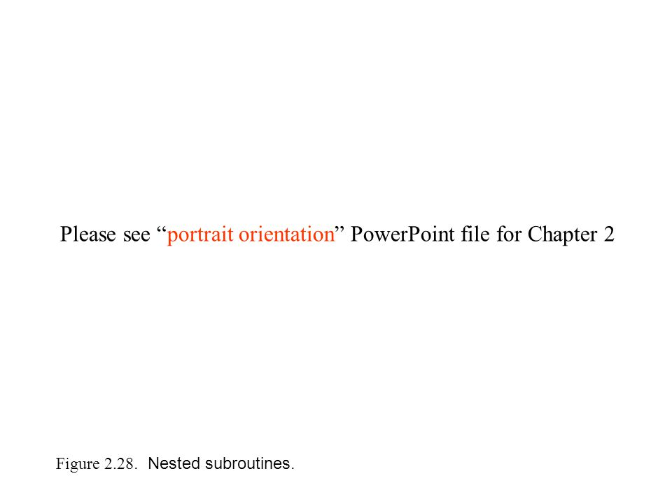 Figure 2.28. Nested subroutines. Please see portrait orientation PowerPoint file for Chapter 2