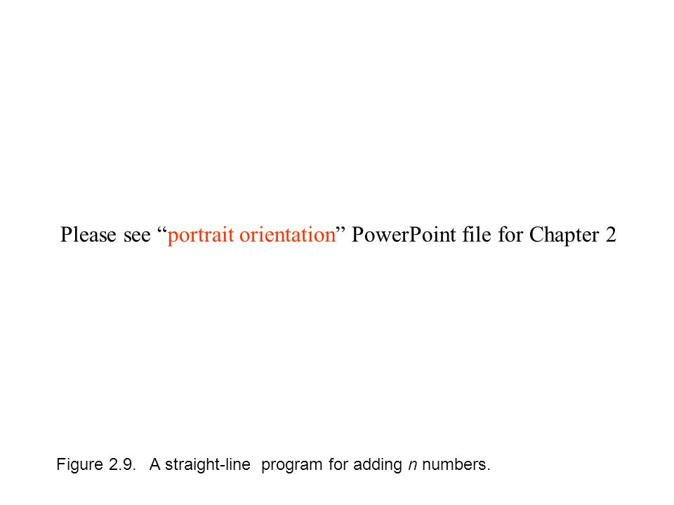 Figure 2.9. A straight-line program for adding n numbers.