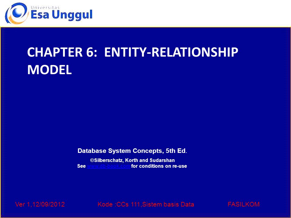 Ver 1,12/09/2012Kode :CCs 111,Sistem basis DataFASILKOM Database System Concepts, 5th Ed.