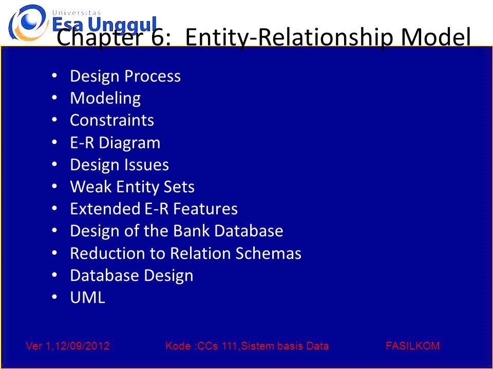 Ver 1,12/09/2012Kode :CCs 111,Sistem basis DataFASILKOM Chapter 6: Entity-Relationship Model Design Process Modeling Constraints E-R Diagram Design Issues Weak Entity Sets Extended E-R Features Design of the Bank Database Reduction to Relation Schemas Database Design UML