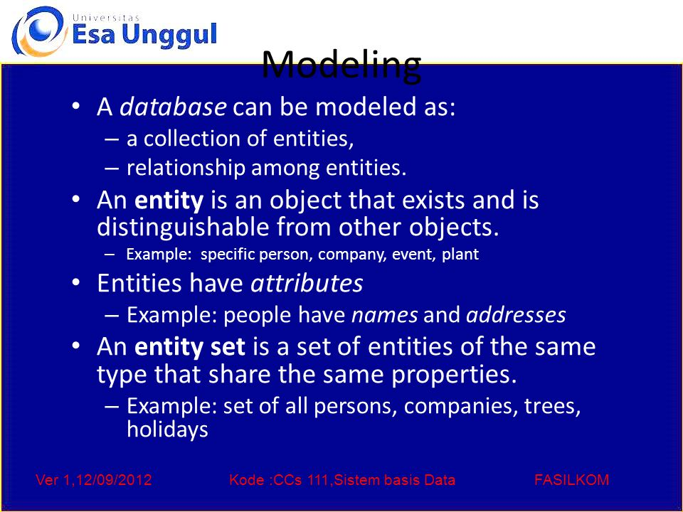 Ver 1,12/09/2012Kode :CCs 111,Sistem basis DataFASILKOM Modeling A database can be modeled as: – a collection of entities, – relationship among entities.