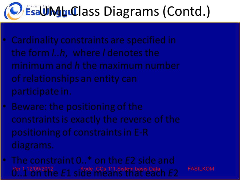 Ver 1,12/09/2012Kode :CCs 111,Sistem basis DataFASILKOM UML Class Diagrams (Contd.) Cardinality constraints are specified in the form l..h, where l denotes the minimum and h the maximum number of relationships an entity can participate in.