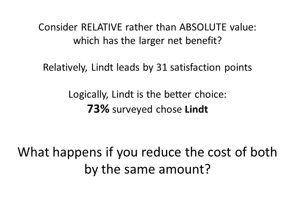 Consider RELATIVE rather than ABSOLUTE value: which has the larger net benefit.
