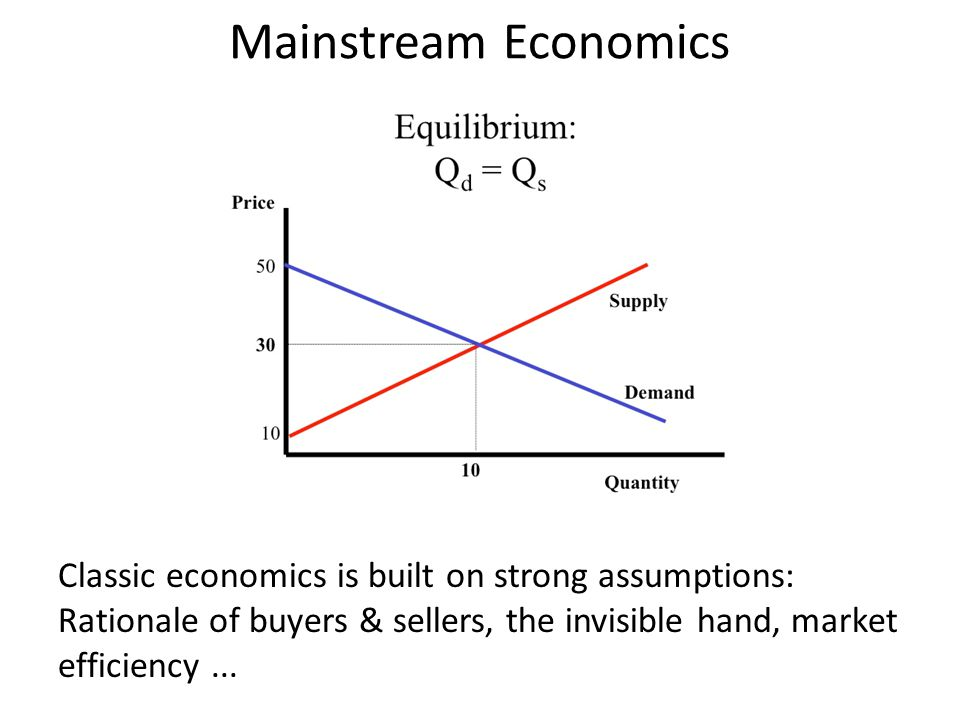 Mainstream Economics Classic economics is built on strong assumptions: Rationale of buyers & sellers, the invisible hand, market efficiency...