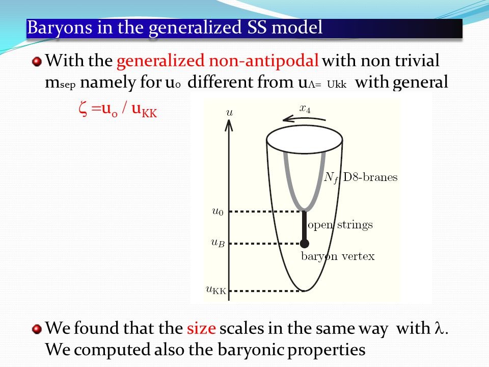 Baryons in the generalized SS model With the generalized non-antipodal with non trivial m sep namely for u 0 different from u  Ukk with general  u 0  u KK We found that the size scales in the same way with  We computed also the baryonic properties