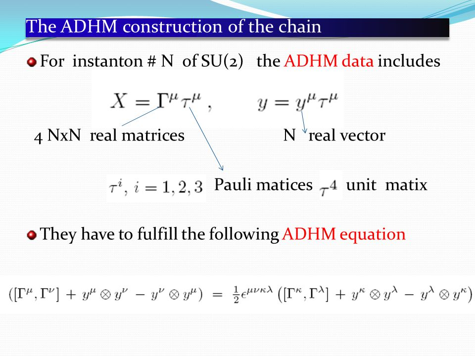 The ADHM construction of the chain For instanton # N of SU(2) the ADHM data includes 4 NxN real matrices N real vector Pauli matices unit matix They have to fulfill the following ADHM equation