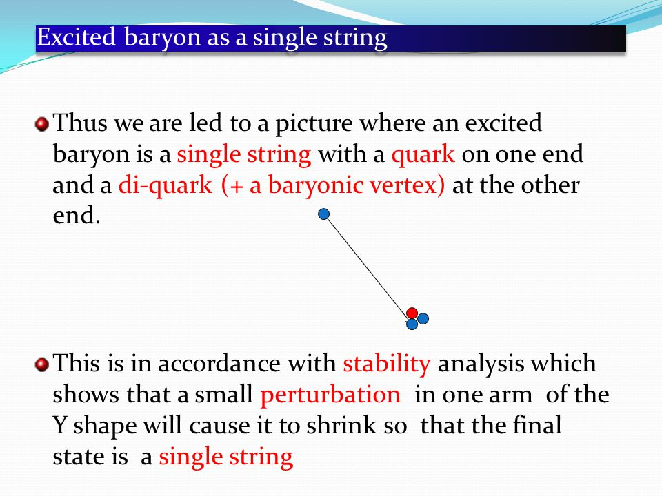 Excited baryon as a single string Thus we are led to a picture where an excited baryon is a single string with a quark on one end and a di-quark (+ a baryonic vertex) at the other end.