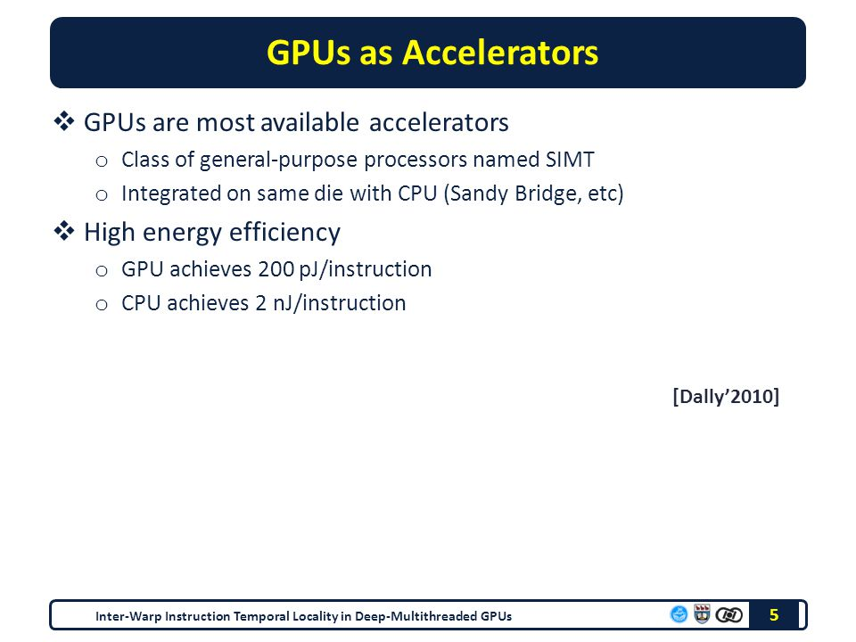 GPUs as Accelerators  GPUs are most available accelerators o Class of general-purpose processors named SIMT o Integrated on same die with CPU (Sandy Bridge, etc)  High energy efficiency o GPU achieves 200 pJ/instruction o CPU achieves 2 nJ/instruction 5 [Dally'2010] Inter-Warp Instruction Temporal Locality in Deep-Multithreaded GPUs
