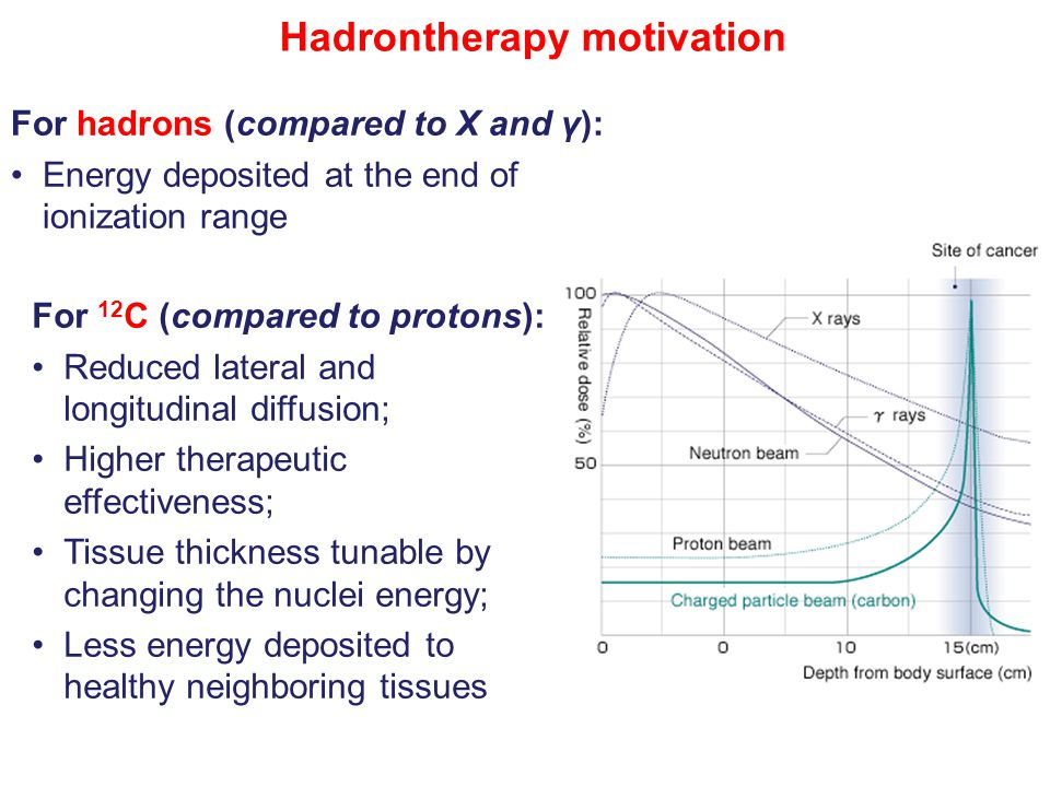 For hadrons (compared to X and γ): Energy deposited at the end of ionization range Hadrontherapy motivation For 12 C (compared to protons): Reduced lateral and longitudinal diffusion; Higher therapeutic effectiveness; Tissue thickness tunable by changing the nuclei energy; Less energy deposited to healthy neighboring tissues