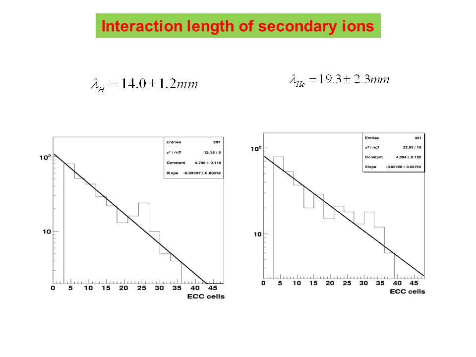Interaction length of secondary ions