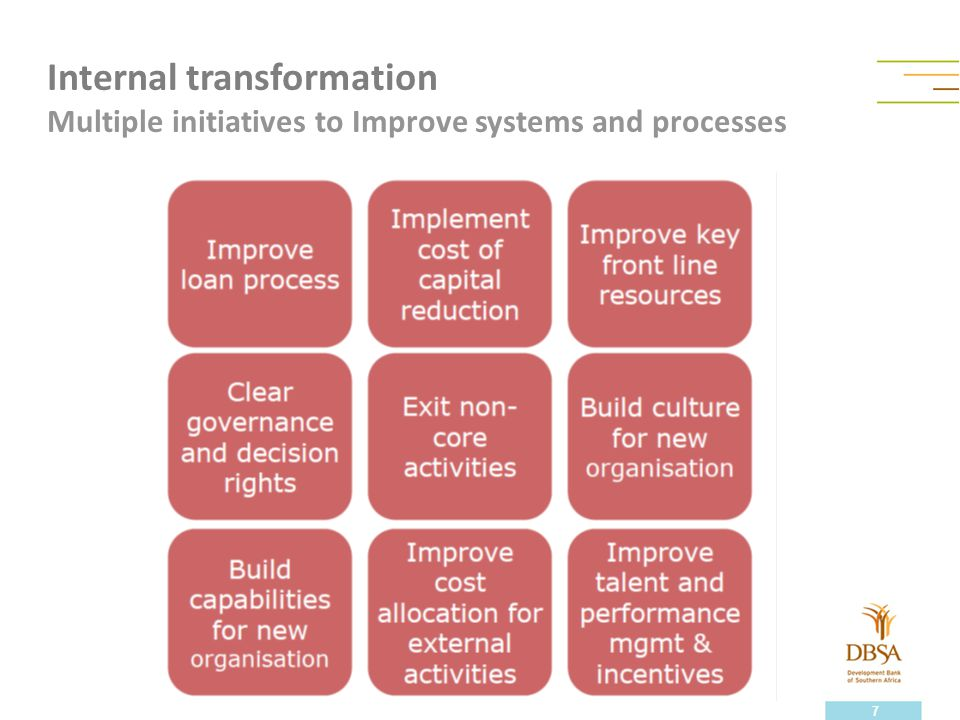 Internal transformation Multiple initiatives to Improve systems and processes 7
