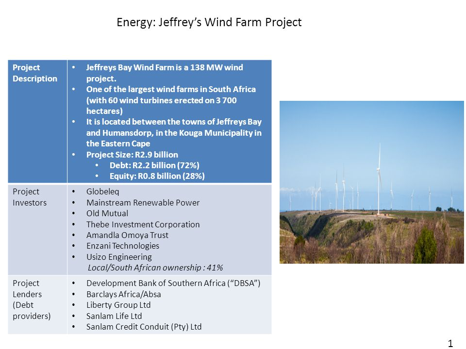 Energy: Jeffrey's Wind Farm Project 18 Project Description Jeffreys Bay Wind Farm is a 138 MW wind project.