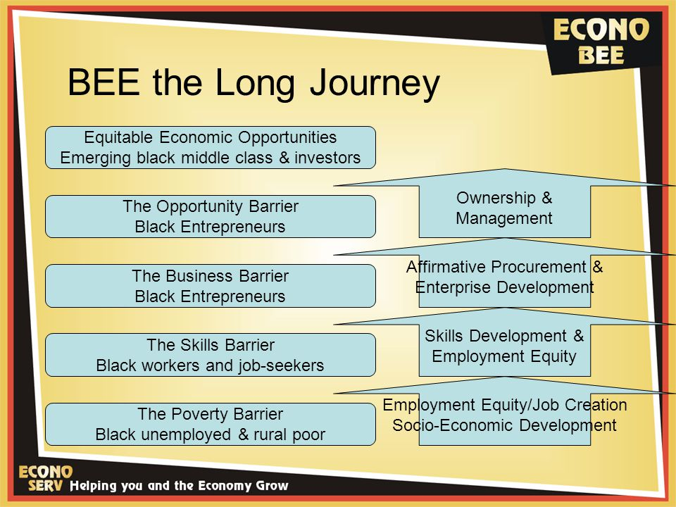 BEE the Long Journey The Poverty Barrier Black unemployed & rural poor The Skills Barrier Black workers and job-seekers The Business Barrier Black Entrepreneurs The Opportunity Barrier Black Entrepreneurs Equitable Economic Opportunities Emerging black middle class & investors Employment Equity/Job Creation Socio-Economic Development Skills Development & Employment Equity Affirmative Procurement & Enterprise Development Ownership & Management