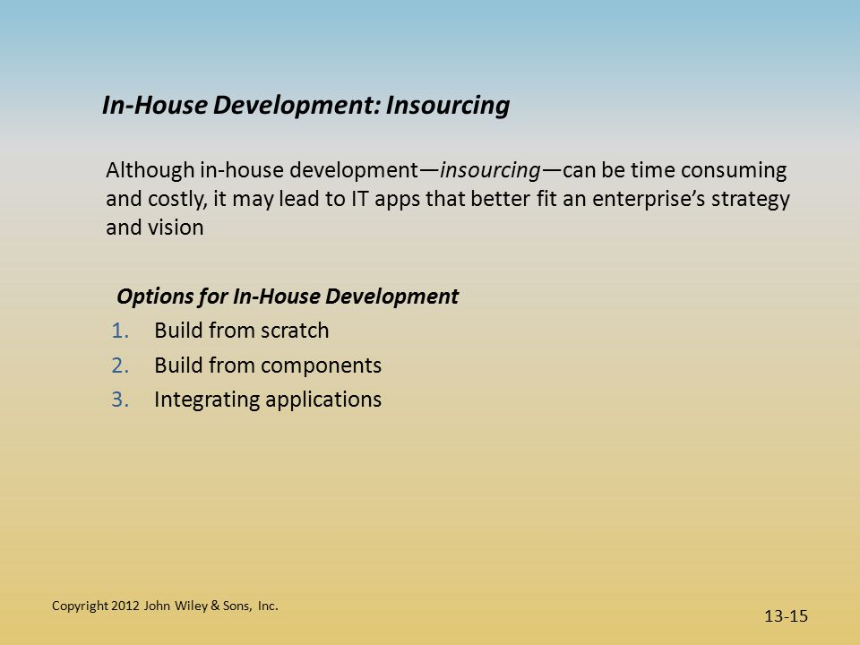In-House Development: Insourcing Although in-house development—insourcing—can be time consuming and costly, it may lead to IT apps that better fit an enterprise's strategy and vision Options for In-House Development 1.Build from scratch 2.Build from components 3.Integrating applications Copyright 2012 John Wiley & Sons, Inc.