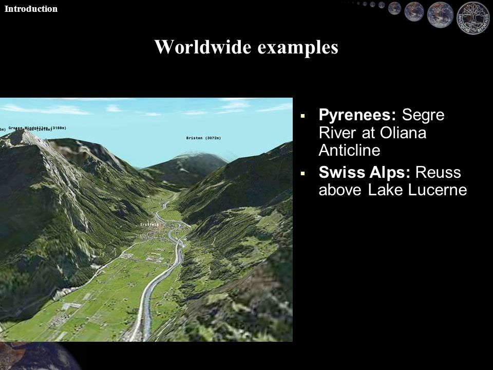 Worldwide examples   Pyrenees: Segre River at Oliana Anticline   Swiss Alps: Reuss above Lake Lucerne Introduction