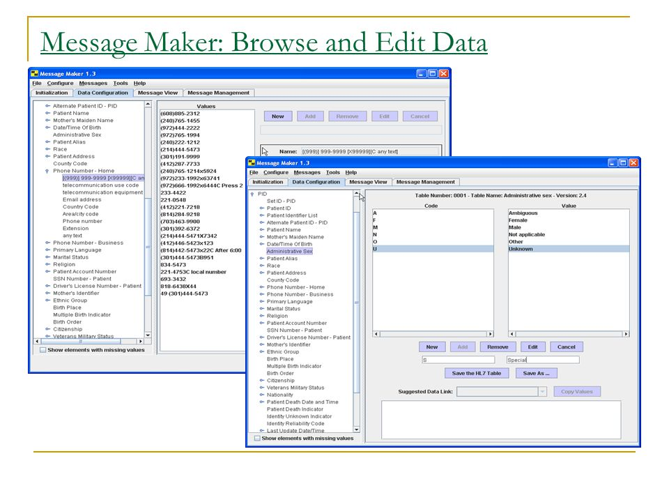 Message Maker: Browse and Edit Data