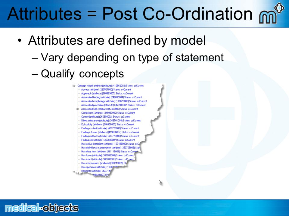 Attributes = Post Co-Ordination Attributes are defined by model –Vary depending on type of statement –Qualify concepts