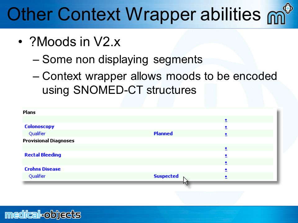 Other Context Wrapper abilities Moods in V2.x –Some non displaying segments –Context wrapper allows moods to be encoded using SNOMED-CT structures