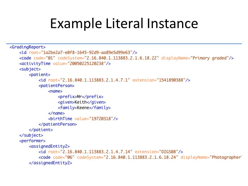 Example Literal Instance